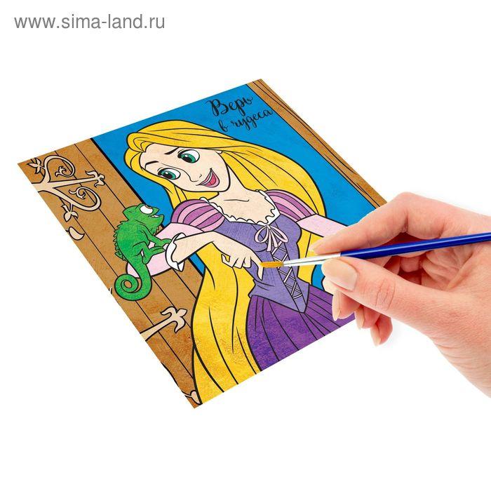 """Роспись по холсту """"Верь в чудеса"""" по номерам красками (наб.6 цветов по 3мл + кисть + 1 пакет блестки), Принцессы: Рапунцель"""