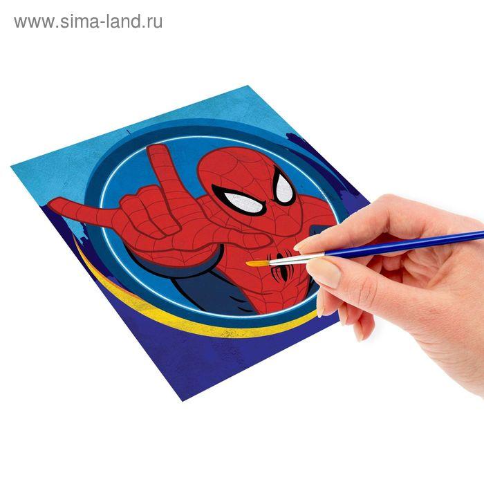 Роспись по холсту по номерам красками (наб.6 цветов по 3мл + кисть + 1 пакет блестки), Человек-Паук