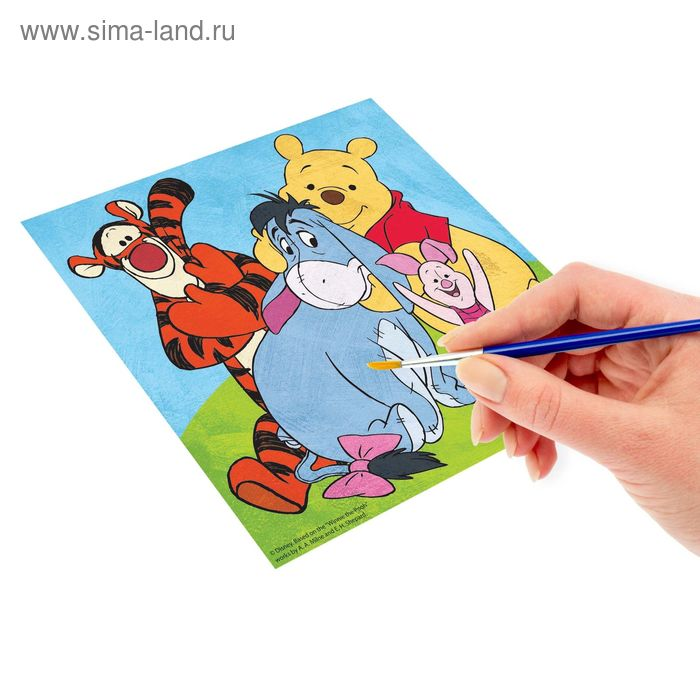 """Роспись по холсту """"Настоящие друзья"""" по номерам красками (наб.6 цветов по 3мл + кисть + 1 пакет блестки), Медвежонок Винни и его друзья"""