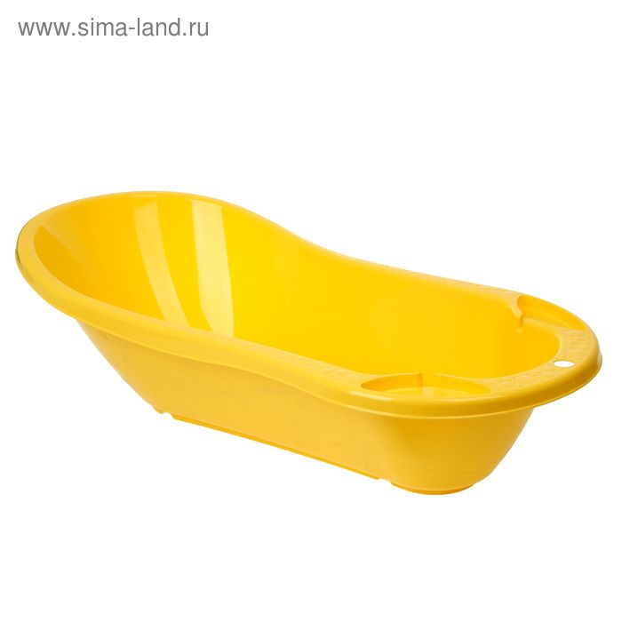 Ванна детская с клапаном для слива воды и аппликацией, цвет жёлтый