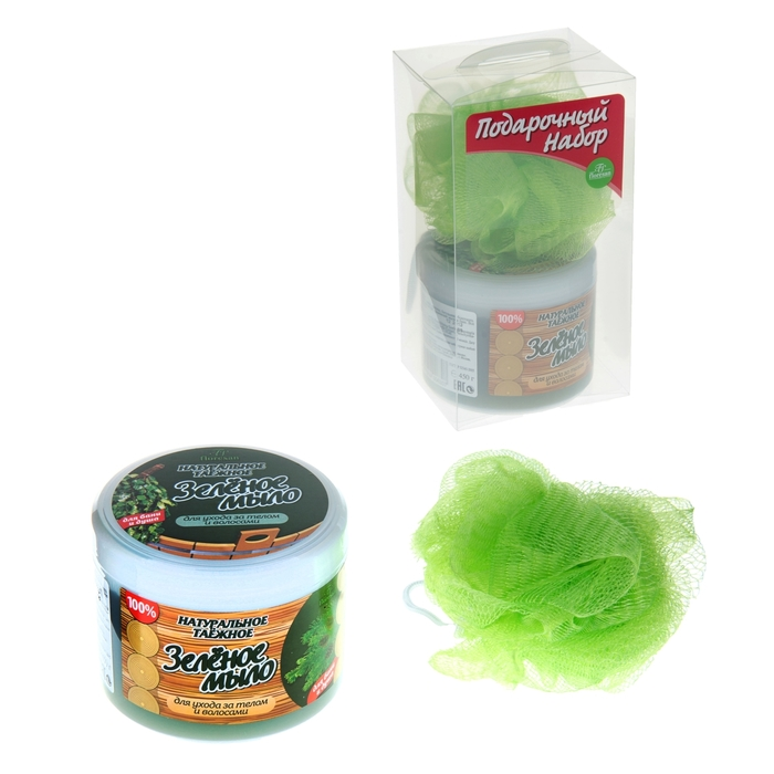 """Подарочный набор для бани """"Зеленое мыло"""": мочалка, мыло."""
