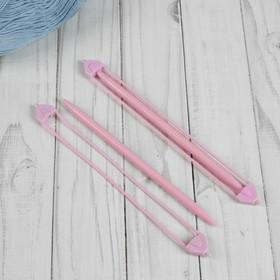Набор вспомогательных спиц для вязания, 2 шт, цвет розовый
