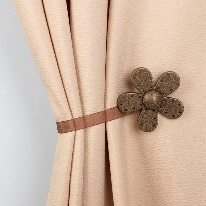 Подхват для штор «Цветок Модерн», d = 8 см, 34 см, цвет бронзовый