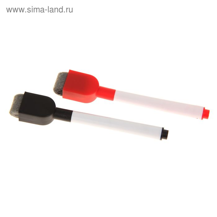 Маркеры на водной основе со стиралкой и магнитом 2 шт., цвет чёрный и красный