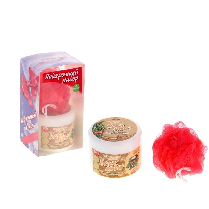 """Подарочный набор для бани """"Белое мыло"""": мочалка, мыло."""