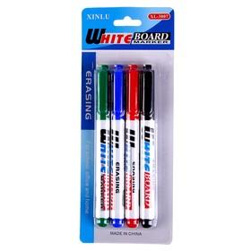 Маркеры на водной основе 4 шт., цвет чёрный, красный, синий, зелёный