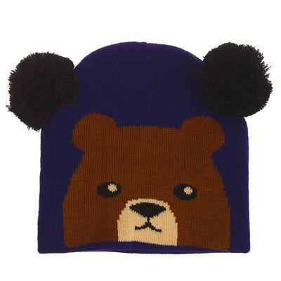 """Шапка детская """"Медведь"""", цвет синий, р-р 50-55"""