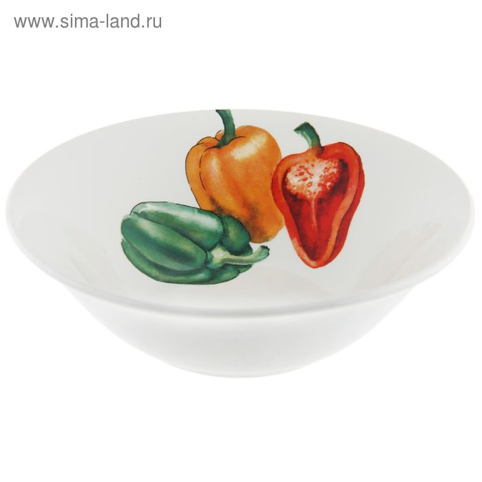 "Салатник 600 мл, d=18 см, h=5,6 см ""Овощи"" , рисунок МИКС"