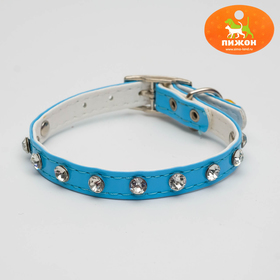 Collar with round rhinestones 28 x 1 cm, artificial leather, mix colors