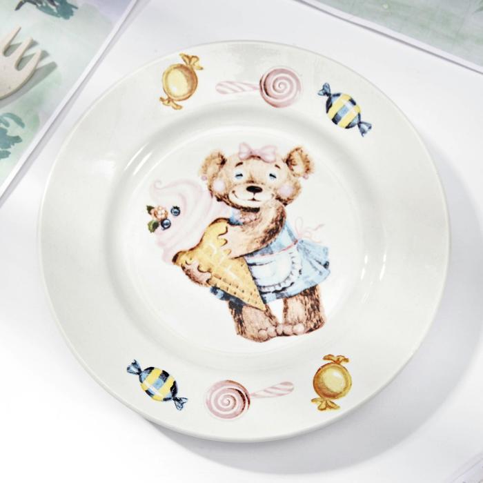 "Тарелка мелкая 17,5 см ""Медвежата"", рисунок МИКС"