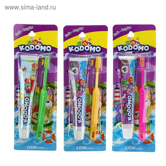 """Зубная паста детская Kodomo 45г + зубная щетка 2в1""""Regular""""  микс"""