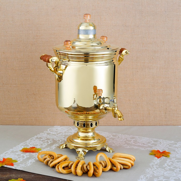 Самовар «Золото», банка, 7 л, жаровой, труба входит в комплектацию