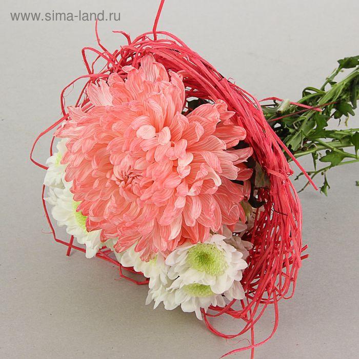 Каркас для букета 25 см, ротанг, розовый