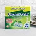 Таблетки для посудомоечных машин  Clean&Fresh All in 1, 60 шт.+очиститель 1шт
