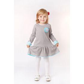Платье для девочки, рост 104 см, цвет серый, принт клетка (арт. И-031/1)