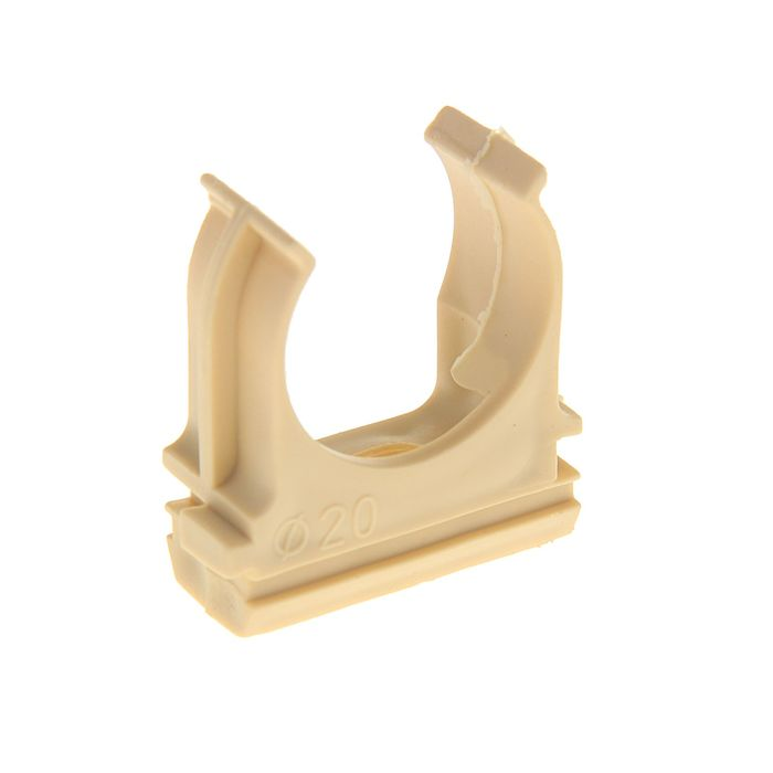 Крепеж-клипса для труб, d=20 мм, в наборе 10 шт, цвет светлого дерева
