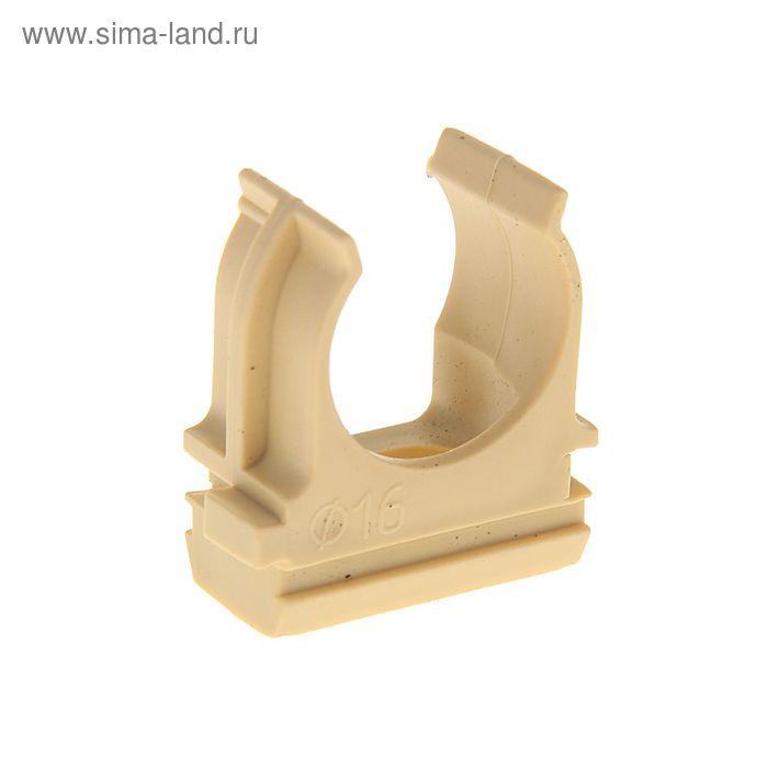Крепеж-клипса для труб, d=16 мм, в наборе 10 шт, цвет светлого дерева