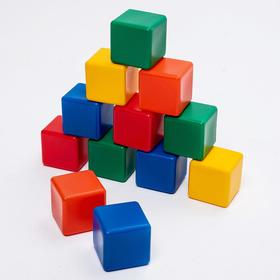 A set of colored cubes, 6 × 6 cm, 12 pieces