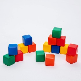 A set of colored cubes, 16 pieces, 4 × 4 cm
