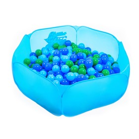 Balls to the dry pool with the pattern, diameter of bowl 7.5 cm set of 60 pieces, the color of sea