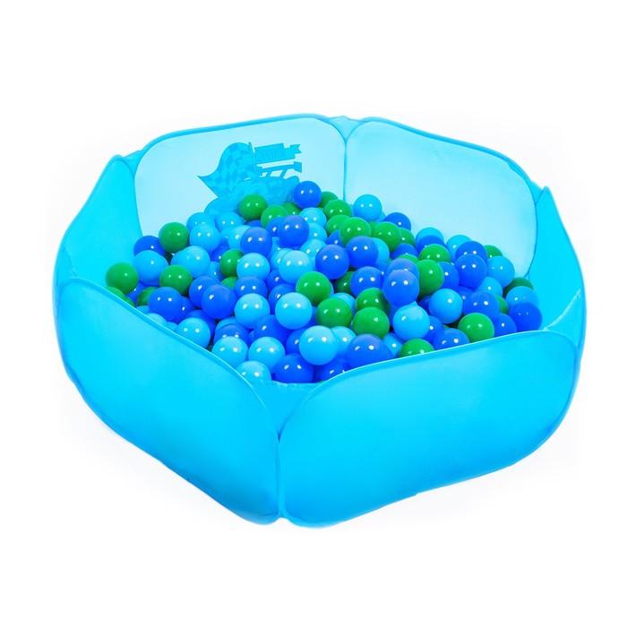Шарики для сухого бассейна с рисунком, диаметр шара 7,5 см, набор 60 штук, цвет морской - фото 1003772