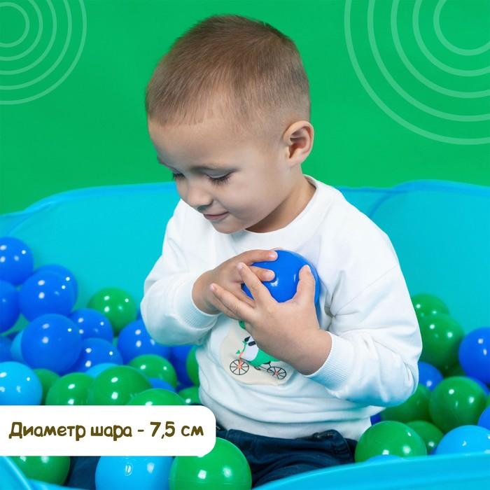 Шарики для сухого бассейна с рисунком, диаметр шара 7,5 см, набор 60 штук, цвет морской