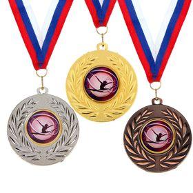 Медаль тематическая 078 'Художественная гимнастика', цвет золото, диам 5 см Ош