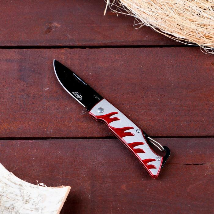 Нож перочинный лезвие drop-point 7см, рукоять Огонь, крепление-петля 16,5см