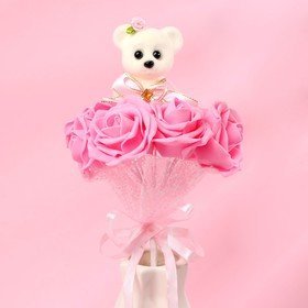 """Bouquet with bear """"From the heart"""", 7 flowers, the color pink"""
