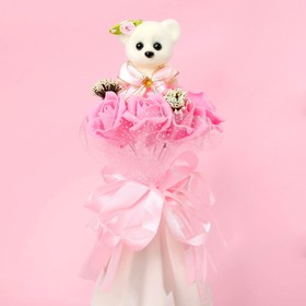 """Bouquet with bear """"For you"""", 7 flowers, color pink + white"""