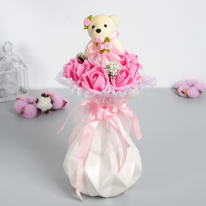 """Букет с мишкой """"От всего сердца"""", 9 цветков, цвет розовый"""