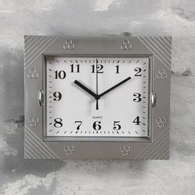 """Часы настенные, серия: Классика, """"Волна"""", хромированные, 22х26 см"""
