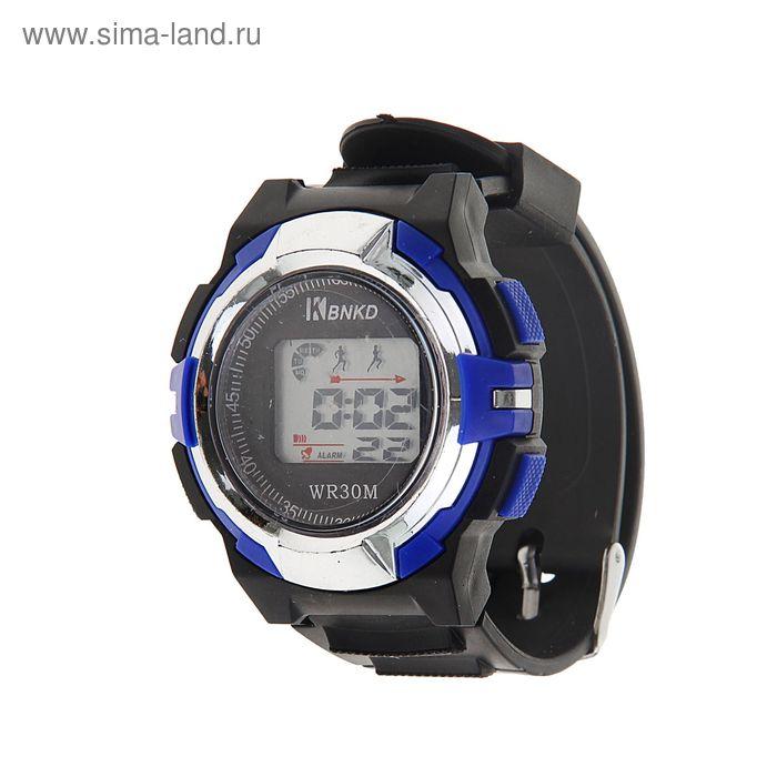 Часы наручные муж.электронные, с силик/ремешком, циферблат кург черно-синие, дата календарь 119923
