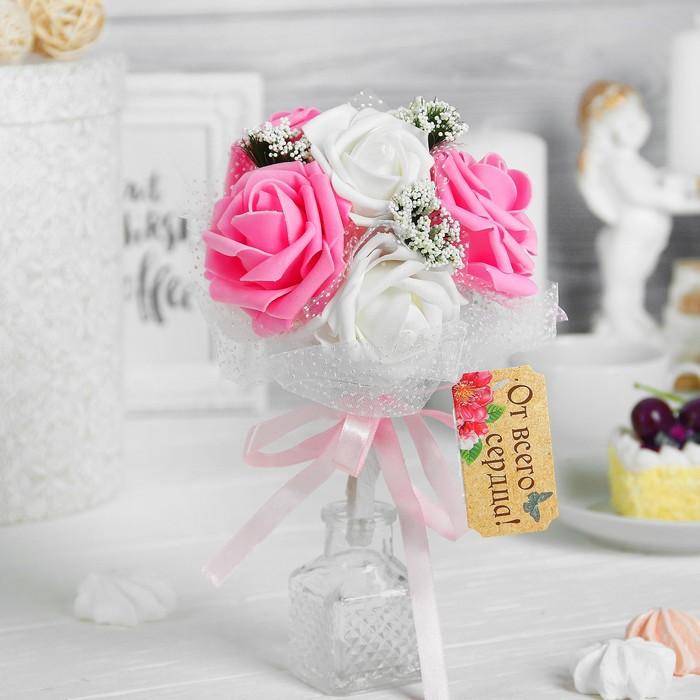 """Букет-дублер """"Поздравляю"""", 7 цветков, цвет розовый + белый"""