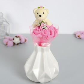 Букет с мишкой 'От всей души', 3 цветка, цвет розовый Ош