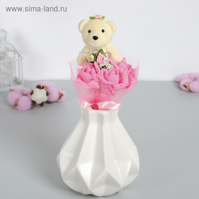 """Букет с мишкой """"От всей души"""", 3 цветка, цвет розовый"""