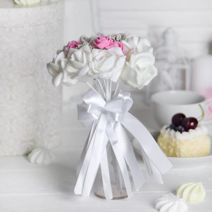 Букет «Поздравляю», 9 цветов, цвет бело-розовый