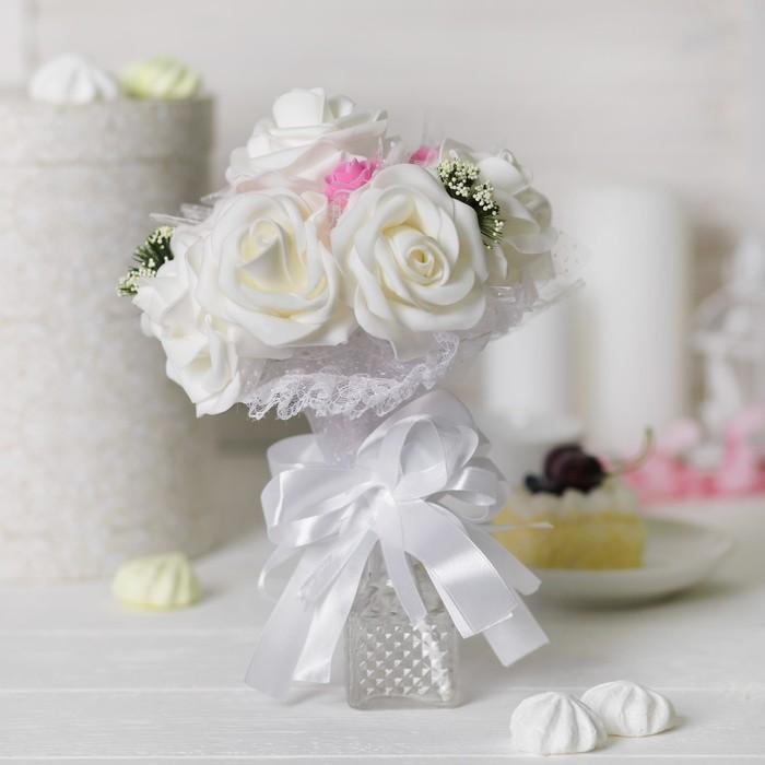 """Букет-дублер """"Только для тебя"""", 9 цветков, цвет белый"""