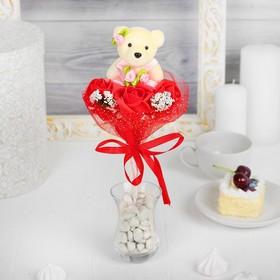 Букет с мишкой 'Я люблю тебя', 3 цветка, цвет красный Ош