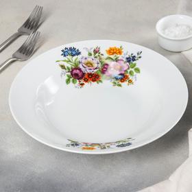 Тарелка глубокая «Идиллия. Букет цветов», 24 см, 500 мл