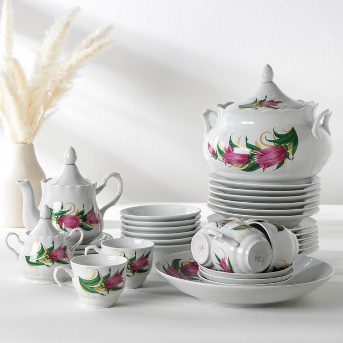 Набор столовой посуды «Идиллия. Колокольчики», 34 предмета - фото 886078