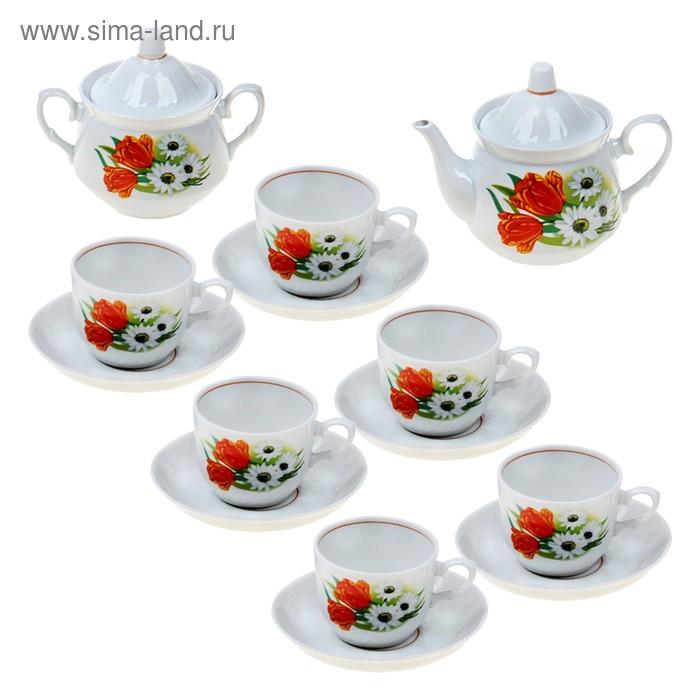 """Сервиз чайный """"Ромашка с тюльпаном"""", 14 предметов"""