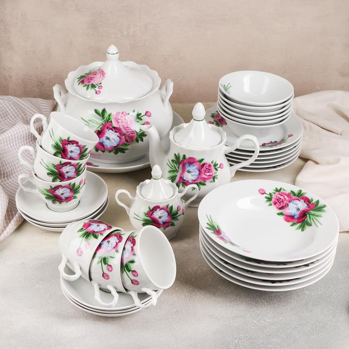 Набор столовой посуды «Пион», 34 предмета