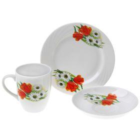 Набор подарочный «Ромашка с тюльпаном», 3 предмета: кружка 300 мл, блюдце 15 см, тарелка 17,5 см