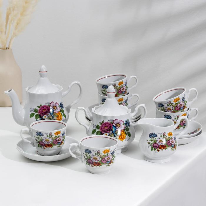 Сервиз чайный «Букет цветов», 15 предметов - фото 886116