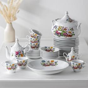 Набор столовой посуды «Букет цветов», 34 предмета