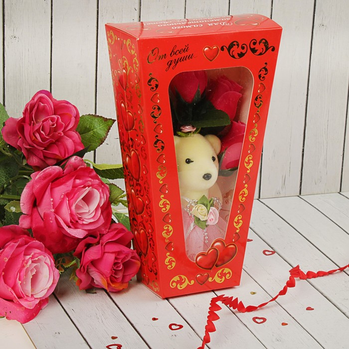 """Мишка с розами в коробке """"От всей души"""" 5 розовых роз"""
