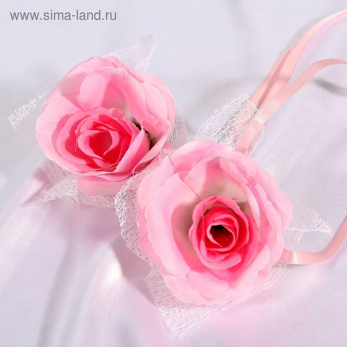 Набор нежно-розовых роз для украшения свадебного авто
