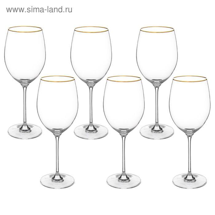 """Набор бокалов для вина 680 мл """"Wintime. Золотая отводка"""", 6 шт"""