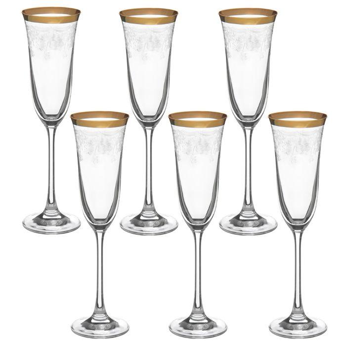 """Набор бокалов для шампанского 160 мл """"Флора. Цветочный занавес"""", 6 шт"""